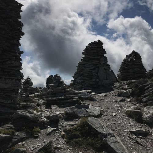 Cloud - Sky Land Low Angle View Nature No People Non-urban Scene Outdoors Physical Geography Rock Rock - Object Rock Formation Scenics - Nature Sky Solid Stone Pillars Tranquil Scene Tranquility
