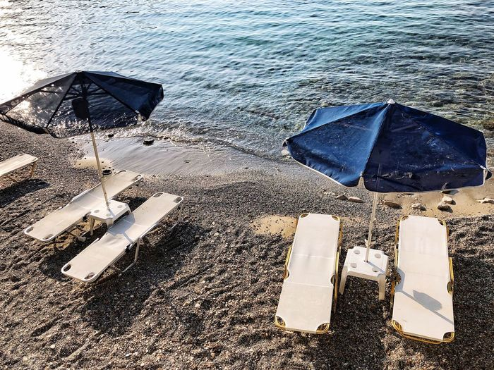Sunbed Beach Sandy Sea Water High Angle View Sign Beach Nature Wet Day No People Outdoors Sand Sea