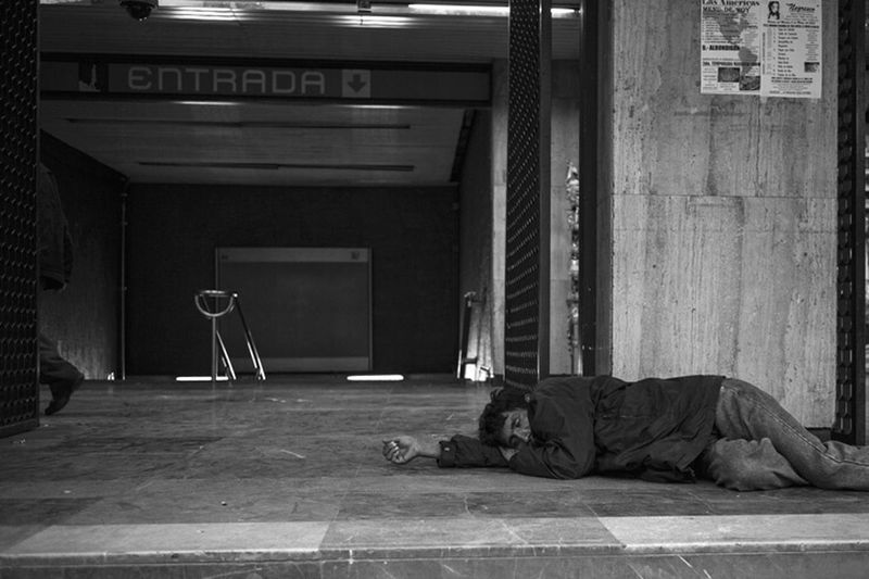 The entrance to the dreams. Streetphotography Streetphoto_bw Blackandwhite Monochrome Metro Station Sleeping Mexico City
