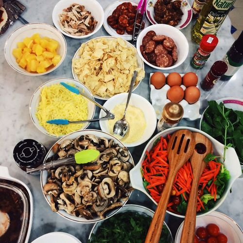 High angle view of various food stuffs on kitchen counter