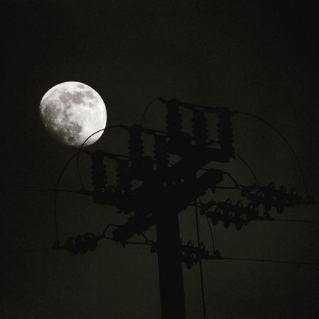 Moon Wires Blackandwhite Nightphotography Night Urban