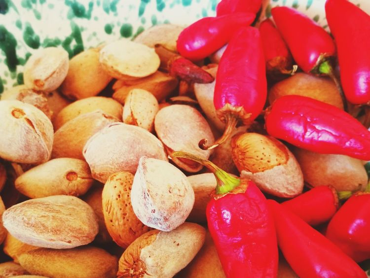 Food And Drink Healthy Eating Variation Food No People Indoors  Nut - Food Close-up Day Freshness Pattern In Nature Eating Objects Mandorle Peperoncini Almonds Food Stories