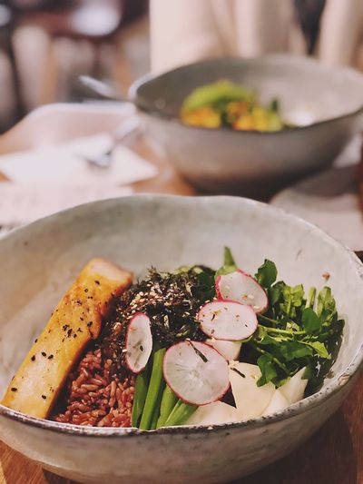 Close-up of food served in plate