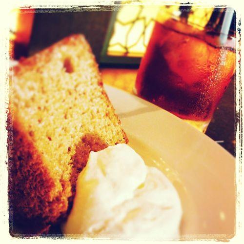 chiffon cake w/ginger peach tea