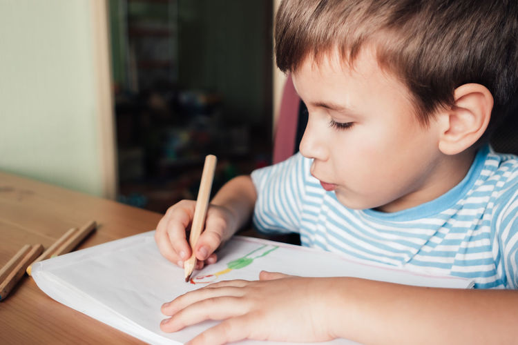 Cute boy drawing picture in album, home education