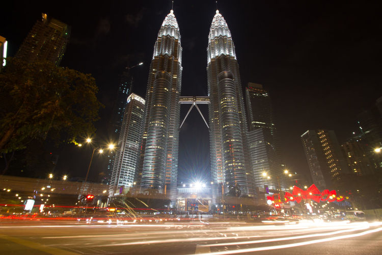 This picture taken in Tallest Building in Kuala Lumpur, Malaysia at night Travel Photography Architecture City Light Trail Long Exposure Night Skyscraper Travel Destinations
