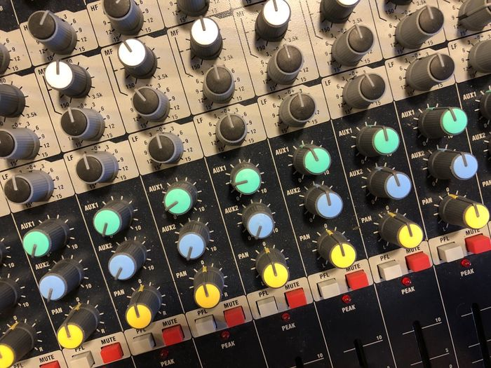 Recording Equipment Recording Studio Studio Sound And Light Equipment Mixing Console Full Frame No People Backgrounds Pattern Multi Colored Close-up Arts Culture And Entertainment Indoors  Design Still Life High Angle View Abundance Geometric Shape Large Group Of Objects In A Row
