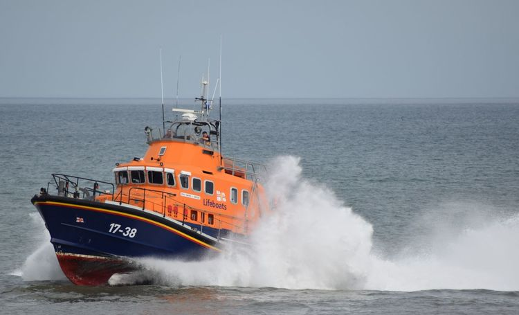 RNLI Open Day, August 2017. Withernsea lifeboat, Humber Lifeboat, RNLI Coastguard Rescue Helicopter Lifeboat RNLI Boat Clear Sky Coastguard Crash Day Horizon Over Water Lifeboat RNLI Motion Nature Nautical Vessel No People Outdoors Rescue Sea Sky Transportation Water Wave Winchman