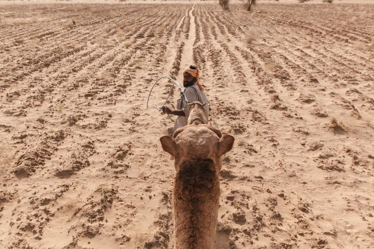 Full length of man standing on sand