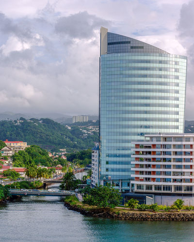 Port au France, Martinique Architecture Building Building Exterior Built Structure City Cityscape Cloud - Sky Day Modern Nature No People Office Office Building Exterior Outdoors River Sky Skyscraper Tall - High Water Waterfront