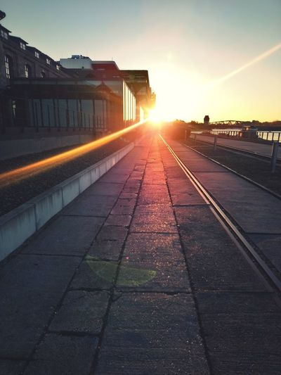 Oktobermorgen Berlin Sunset Morning Elsenbrücke City Sunset Sunlight Light Beam Railroad Track Sun Rail Transportation Train - Vehicle Public Transportation Lens Flare