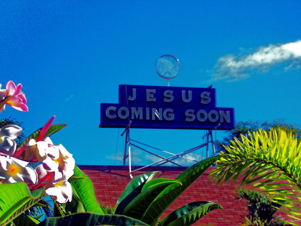 A church with Movie Theater signage -- Coming Soon! Blue Sky Churches Flowers Invitation Jesus Marquee Theater Sign Tropical Plants