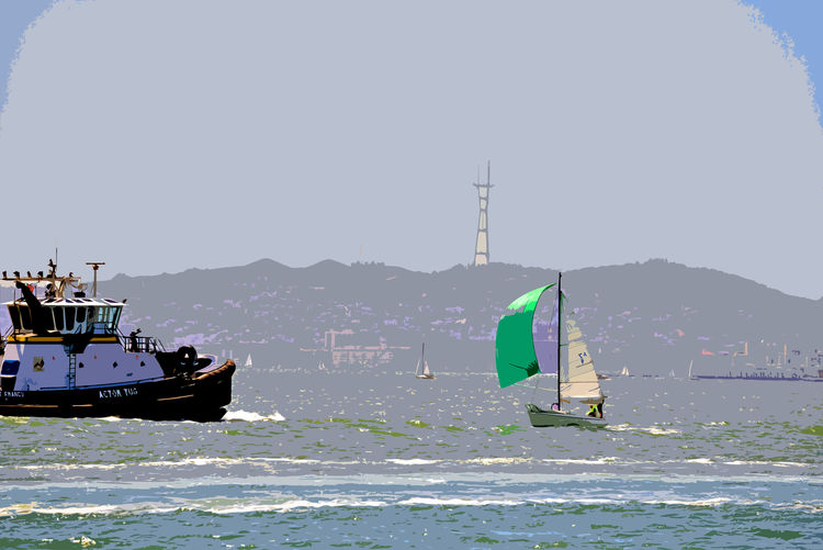 Sailing The Bay 8 San Francisco Bay Middle Harbor Port Of Oakland, Ca. Sailboats Green Sailboat Cutout Edit Sutro Tower Tugboat AT&T Ball Park Hills Of San Francisco Sailing Watersports Aquactic Sports Wind Power Sports The Color Of Sport Artistic Edit
