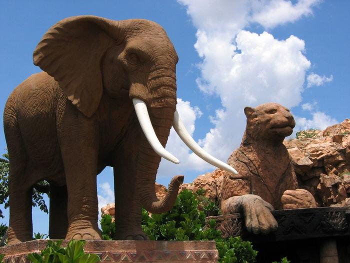 Elephant statue against sky