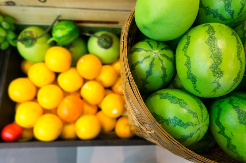High angle view shot of artificial fruits