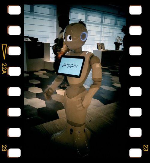後ろの観葉植物でモヒカンに見えるw !! Pepper 's hairstyle like Mohawk with plant behind it. ロボット Robot