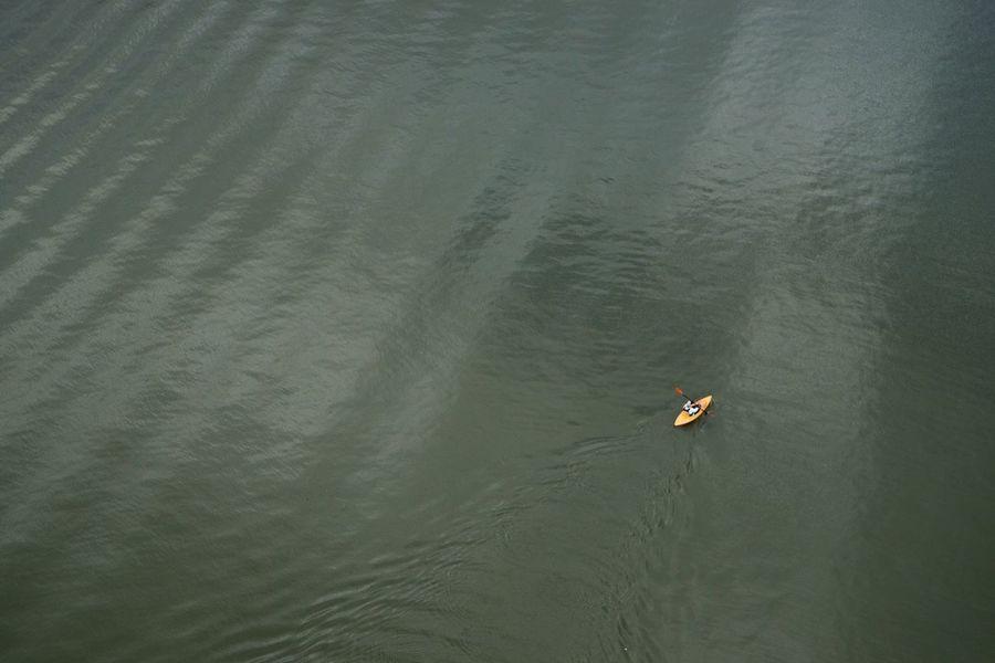 Kayaking on the Willamette River  in Portland Oregon