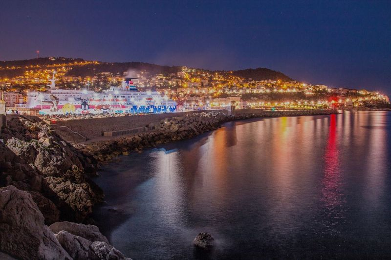Harbor of Nice, France Night Illuminated City Cityscape Architecture Water Outdoors No People Sightseeing Tourism Travel Destinations Long Exposure Waterfront