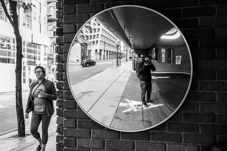 selfie street photography Street Road Blackandwhite Monochrome Mirror Women City Full Length Walking Men Office Building Building Architecture Building Exterior