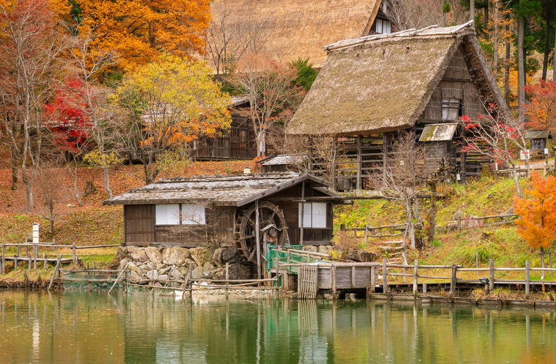 House by lake in forest during autumn