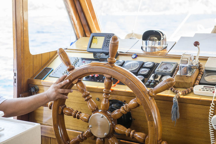 Steering Wheel Transportation Human Hand Control Mode Of Transportation Nautical Vessel Human Body Part Helm Wood - Material Holding Sailboat Ship Day Navigation
