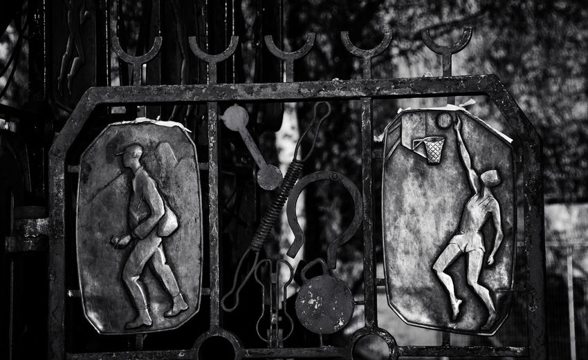 History. EyeEmNewHere Blackandwhite Close-up Day Fence Hanging History No People Outdoors Sculpture Swedenphotos