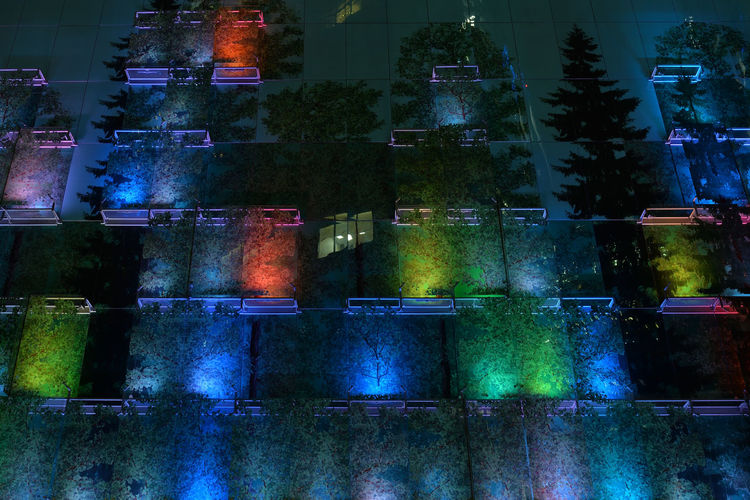 Glassy Forest Europe Eastern Europe Russia Moscow, Russia Moscow Urban City Evening Light Colors Exterior Wall Façade Multi Colored Glass Illuminated No People Night RU643_MOSCOW_AK RU643_RUSSIA_AK