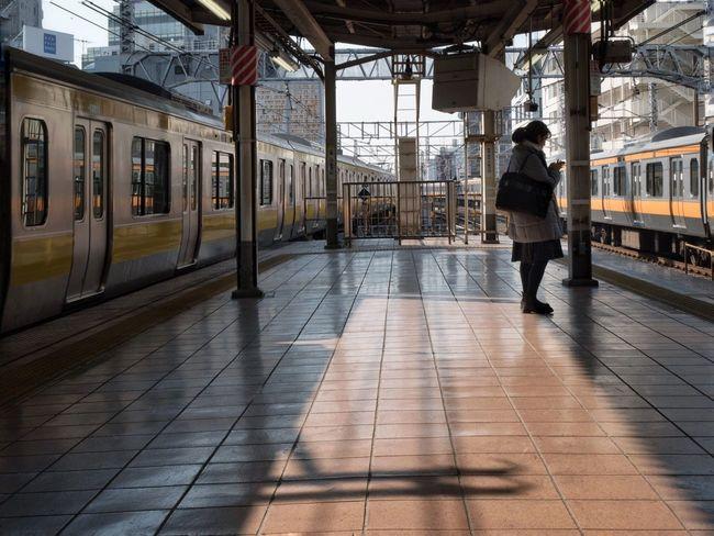 The City Light People Day Station Train Station Platform Waiting Wating For The Train Streetphotography Snapshot City Life Sunshine Light And Shadow at Kichijoji 吉祥寺 , Tokyo Japan The City Light