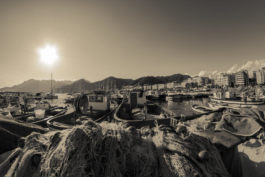 No People Cityscape Port Salerno Boats Fish Nets Sunlight And Shadow Sky Seafront View Seaside