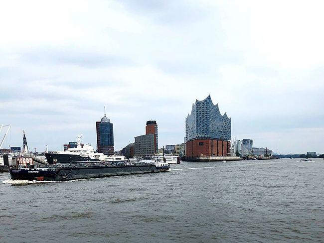 Tourist Attraction  Elbphilharmonie Sky Building Exterior Cloud - Sky Sea Built Structure Architecture Water Waterfront City Day Transportation Ship Outdoors Travel Mode Of Transportation