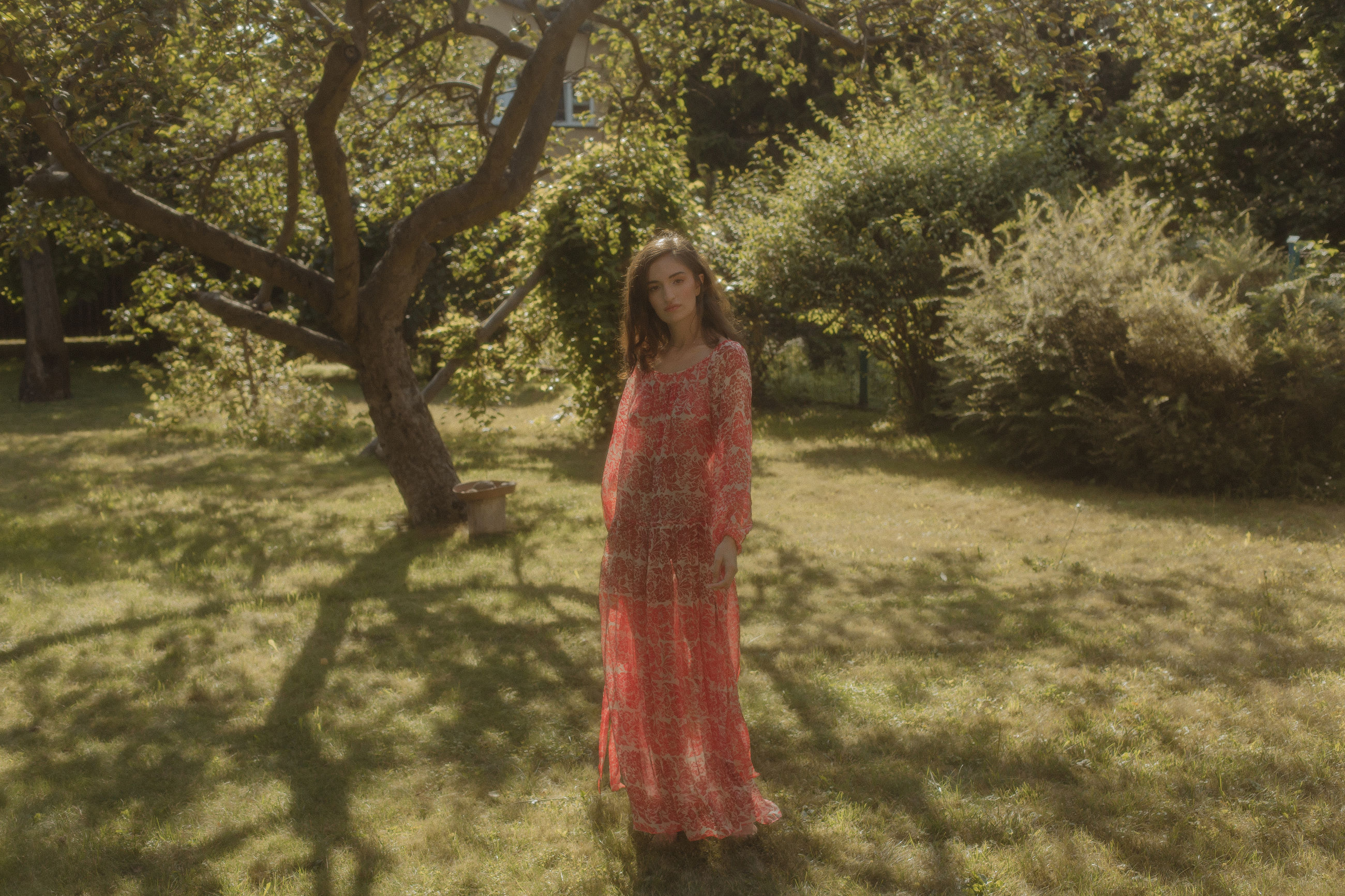 plant, tree, one person, nature, women, sunlight, dress, standing, land, shadow, autumn, fashion, full length, day, woodland, clothing, young adult, leisure activity, growth, front view, hairstyle, flower, outdoors, long hair, field, lifestyles, adult, portrait, casual clothing, grass, green, female, spring, looking at camera, red, beauty in nature, three quarter length, forest, child, looking, smiling, tranquility