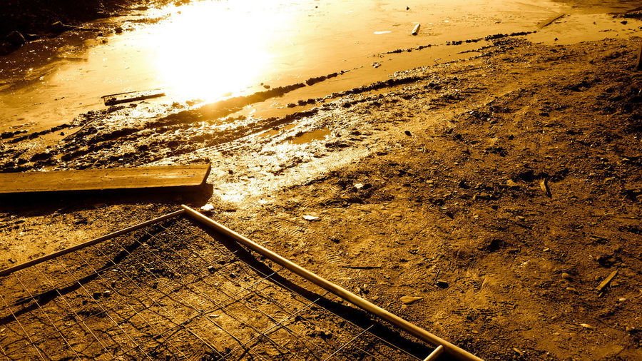 Sunset Nature No People Track Sunlight Land Railroad Track Water High Angle View Rail Transportation Outdoors Sky Transportation Day Metal Beauty In Nature Beach The Way Forward Wood - Material