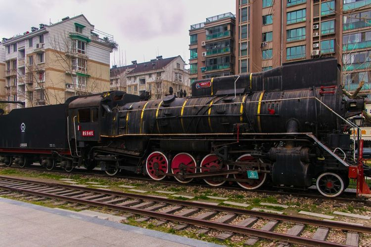 Building Exterior Colour Freight Train Locomotive No People Old Times Old Train Rail Transportation Railroad Track Steam Train Train - Vehicle