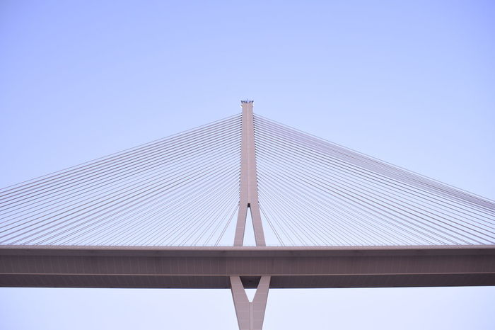 Day 28 - Connection Bridge - Man Made Structure Clear Sky Engineering Architecture Low Angle View Built Structure Blue Cable-stayed Bridge Suspension Bridge Day Steel Cable Bridge Tall Outdoors Geometric Shape Long Modern No People 365 365project Nikon D750 35mm 365 Day Challenge