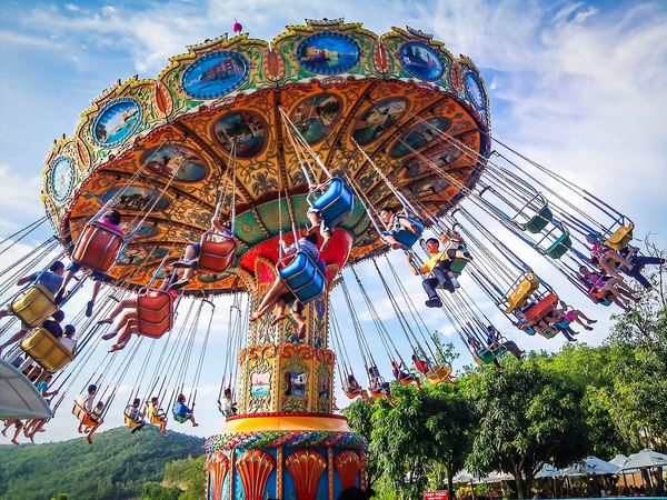 Amusement Park Arts Culture And Entertainment Low Angle View Multi Colored Amusement Park Ride Cloud - Sky Fun Sky Day Outdoors Ferris Wheel Carousel No People Close-up Gaming Time Relaxing Moments Parks And Recreation Vinpearl Land Moment Relaxation Relaxmoment