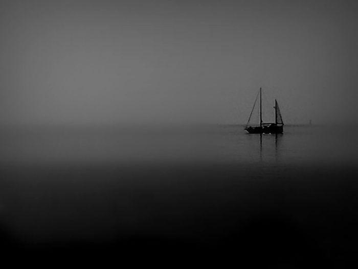 Tallship Fog Sea