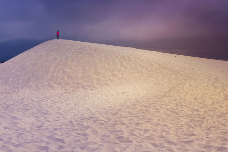 On the top of the world Beach Dune Girl Landscape Nature Outdoors Sand Sand Dune Sky