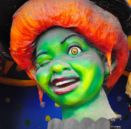 Inside the Mardi Gras Museum - New Orleans, USA EyeEm Gallery New Orleans EyeEm Shrek Close-up Clown Day Face Paint Green Color Green Face Mardi Gras Museum Multi Colored No People Orange Hair Outdoors Portrait Statue Capture Tomorrow