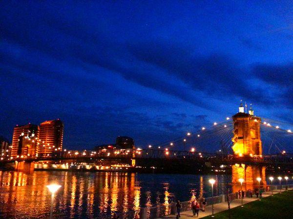 Cincinnati Cities At Night Roebling Suspension Bridge Smartphonephotography Downtown Cincinnati Ohio River Bridges