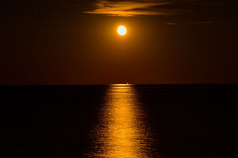 Architecture Sea Nature Sky Outdoors Day Night Redmoon Moon Red Moon