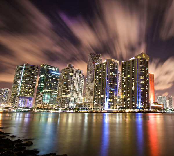 Architecture Building Exterior City Cityscape Cityscapes Downtown Downtown Miami, Extended Exposure Illuminated Miami Modern Night No People Sky Skyline Skyscraper Urban Skyline Waterfront