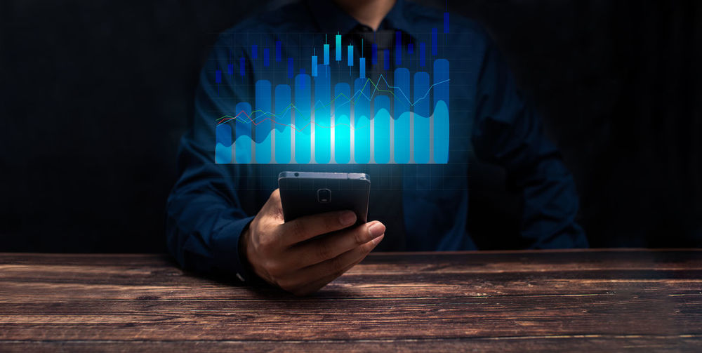 Progress  success businessman trader  growing virtual hologram stock, invest in trading illustration