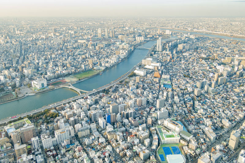 High angle view of crowd in  tokyo city against buildings