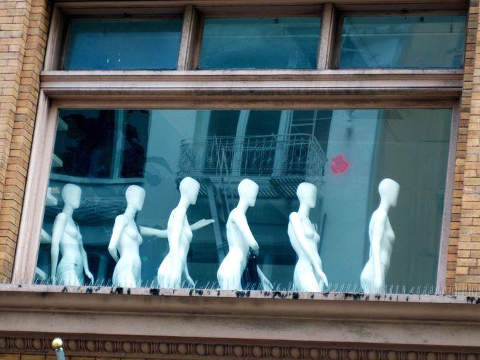"""Exibitionists"" Manequin Manequins Urbanexploration Urbanphotography Cityscapes Window Lookingup"