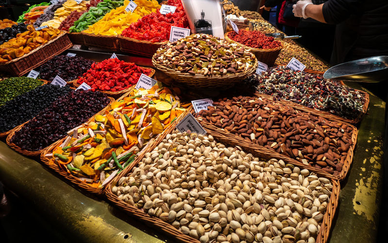 La Boqueria La Boqueria Food Market In Barcelona La Boqueria Market, Food And Drink Food Choice Market Variation Retail  For Sale Market Stall Freshness Abundance Large Group Of Objects Container Wellbeing High Angle View Business Healthy Eating Small Business Incidental People Sale Basket Retail Display Rambla De Catalunya