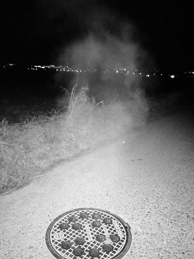 sewage system steam Night Water Outdoors No People Black And White Seawage Steam Cold Temperature