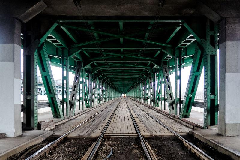 Railroad tracks on bridge