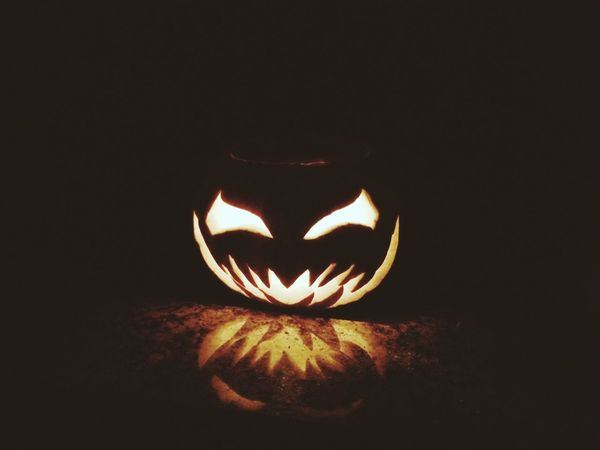 Halloween is coming 🎃👻 Halloween Pumpkin Tradition Celebration Night Dark Jack O Lantern No People Illuminated Anthropomorphic Face Black Background Close-up Outdoors