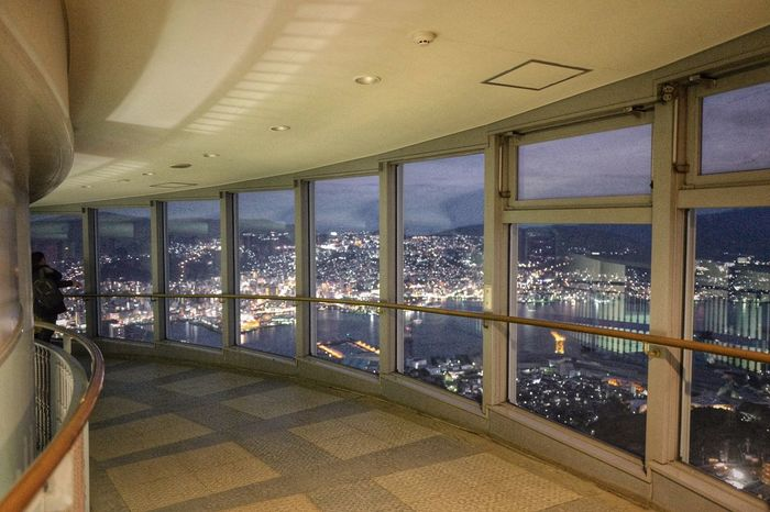 Cityscape Nagasaki : View From The Window... inside Mt.Inasayama, Nagasaki Observation Point Nagasaki Town View Indoors  Architecture Curves And Lines Illumination Luxury City Lights At Night Walking Around Taking Pictures 長崎市 稲佐山展望台 / No Flash 28mm Testing Tesing, 1 2 3 January 2017 de Good Night