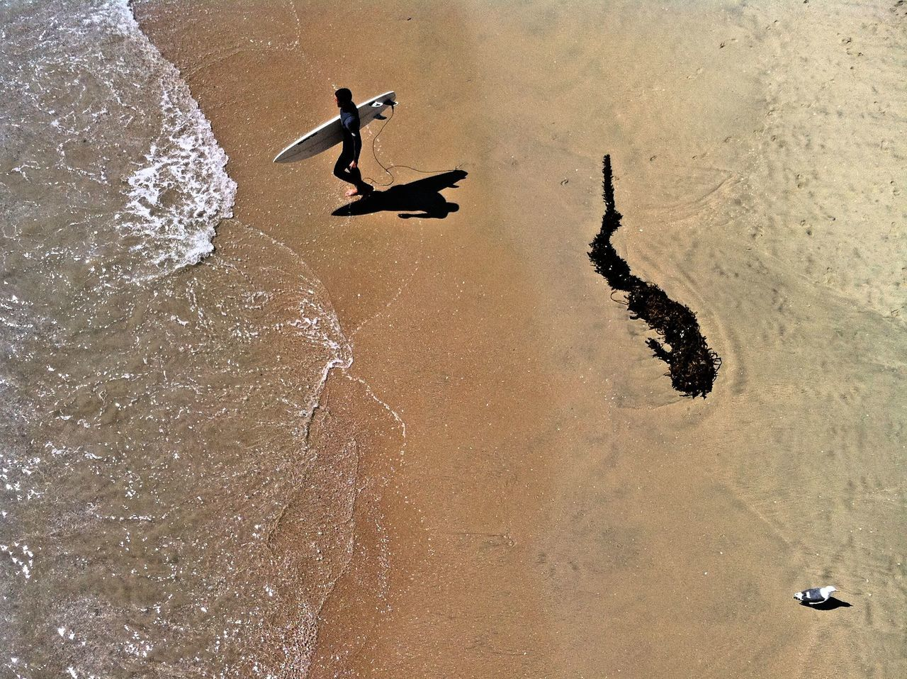 High angle view of a man carrying surfboard on beach